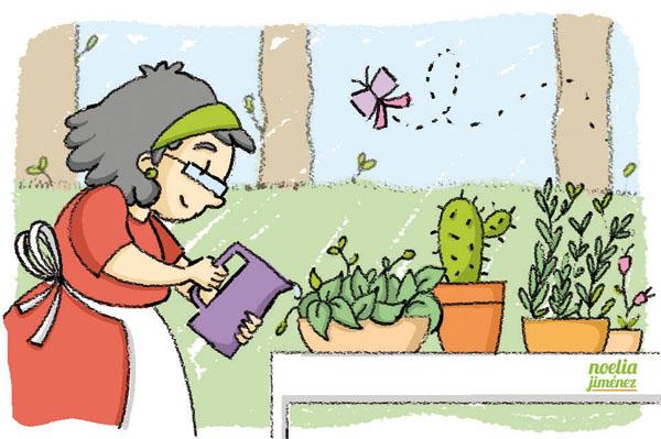 cuidando el jardín